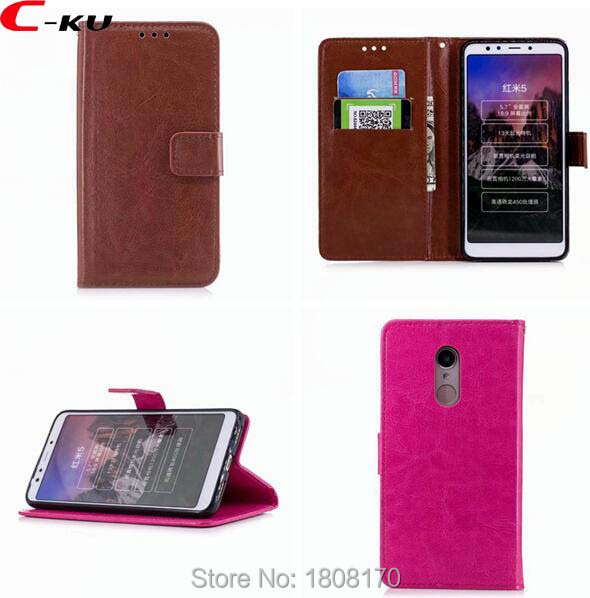 C-ku Crazy Horse Wallet Leather Case For Redmi 5 5A 4A 4X NOTE4 NOTE 4X Xiaomi 5X 6X Colorful Stand Cards Slot Flip Cover 100pcs