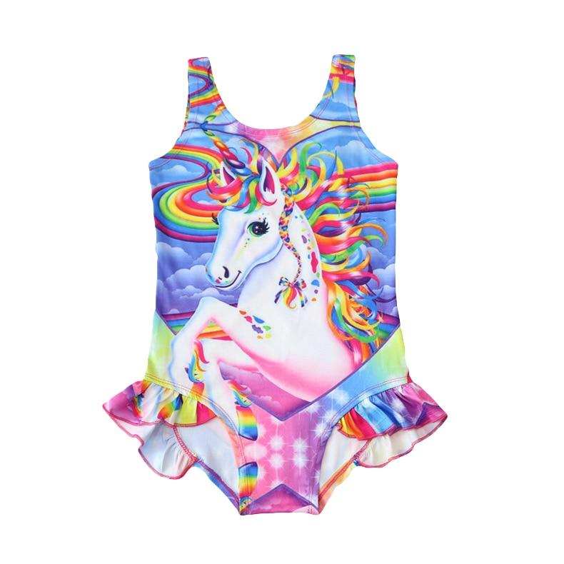 aead10f375 New 2019 Kids swimwear Baby Girls Swimsuit Hot Unicorn One-Piece Children's  Swimwear Summer Unicorn