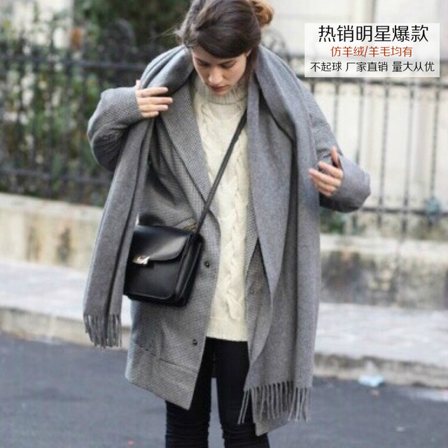 Echarpe Luxury 2016 European Winter Pepper Star Fund Solid Color Wool Cashmere Scarf Male Scarf Shawl Ponchos Capes