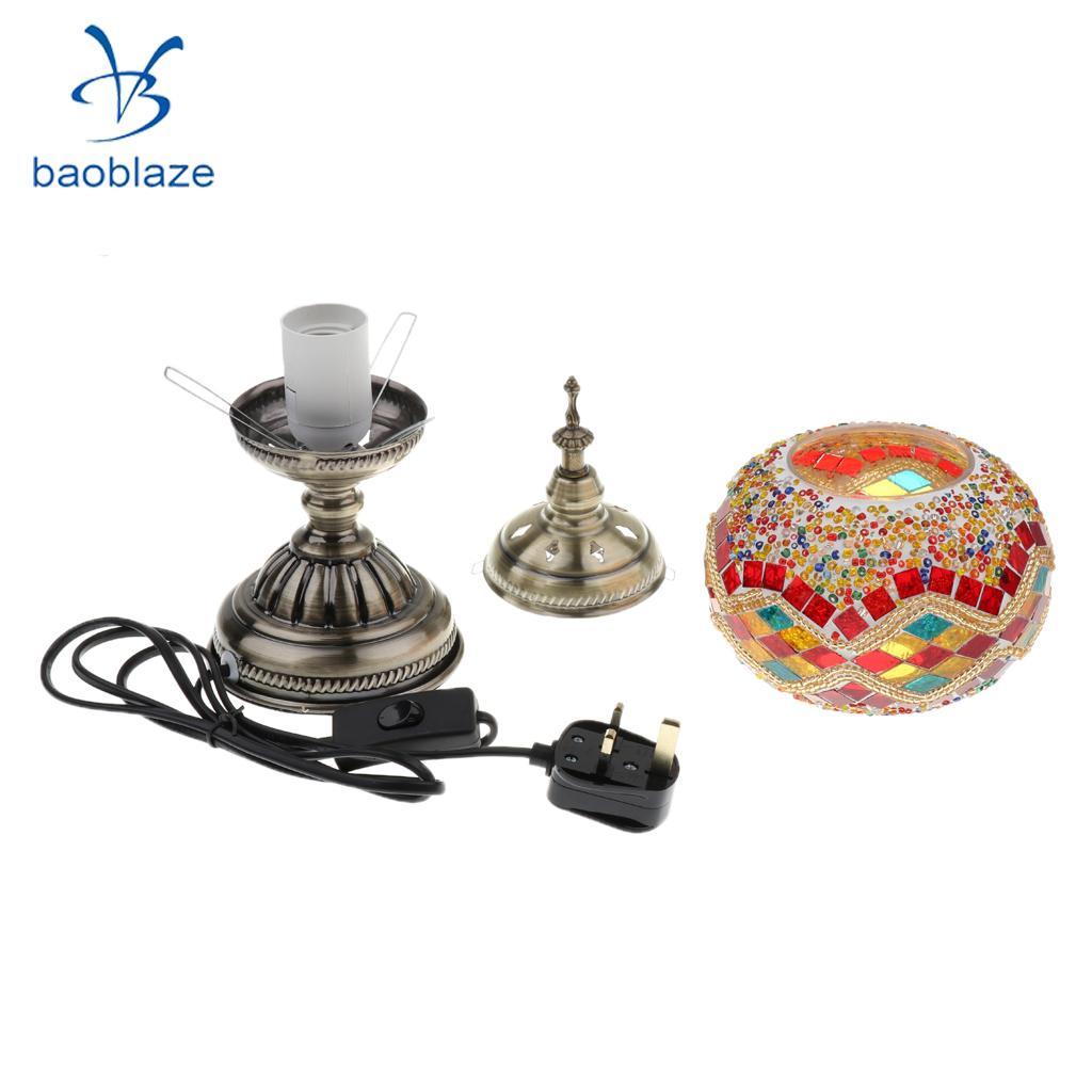 Handmade Turkish Moroccan Mosaic Glass MultiColor Night Light Table Lamp Home Bedroom Christmas Decorative Lighting UK Plug