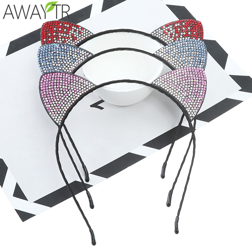 2019 Kids Girl   Headwear   Cat Ears Hoop Shiny Headband Hairband Fabric Cloth Crystal Rhinestone Hair Hoop Festival Accessories 1pc