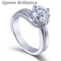 Queen Brilliance 1 5ctw Lab Grown Moissanite Diamond Engagement Wedding Ring Platinum Plated 925 Sterling Silver