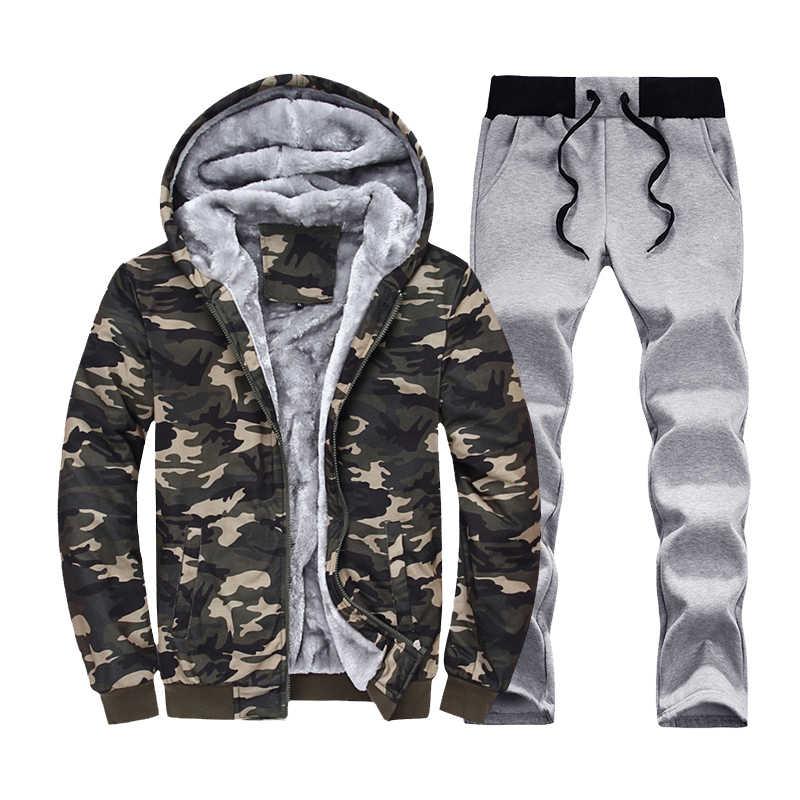 Спортивный костюм мужские зимние комплекты 4xl 2 шт спортивные теплые толстовки Толстая внутренняя флисовая куртка + брюки Moleton Masculino 2018