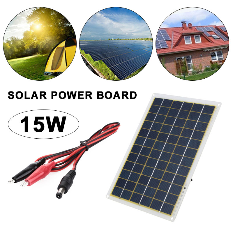 Durable Solar Charging Equipment 27*18.5*0.3cm 15W IP65 Phone Charger DIY Powered Home Improvement Travel Camp Car Solar Energy