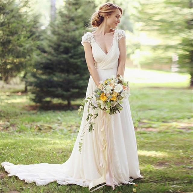 Rustic 2016 New Vintage Garden Cap Sleeve Ivory V-neck Lace   Chiffon  wedding dress bridal gown robe de mariage Vestido de noiva e5706d28d857