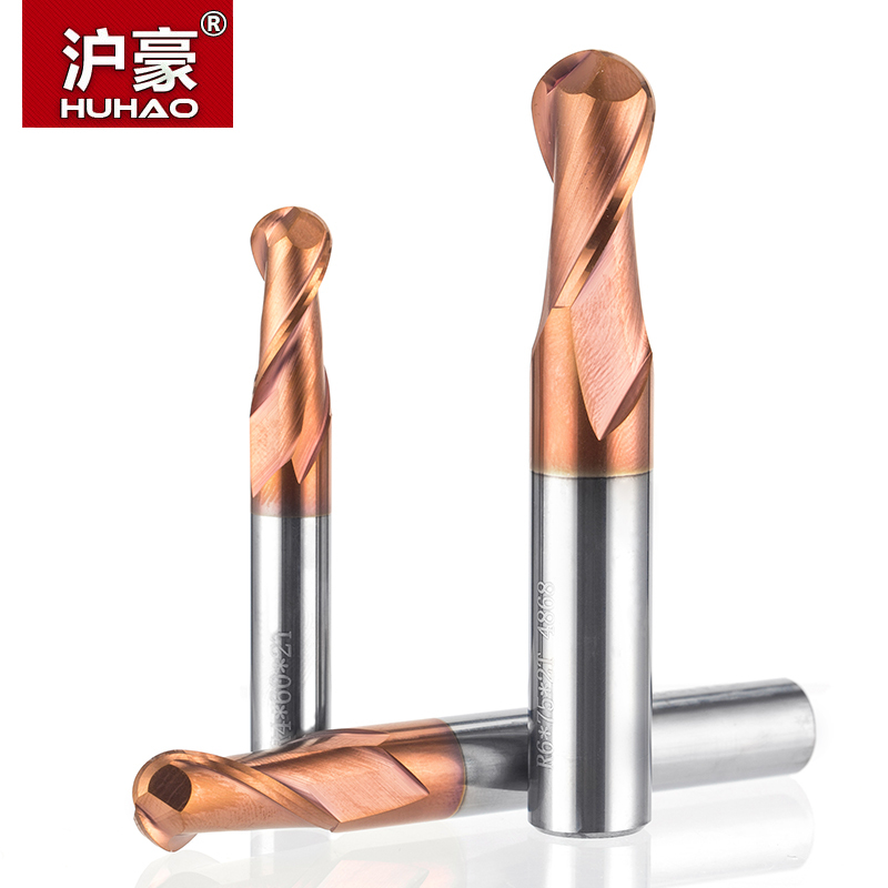 HUHAO 1pc HRC50 Tapered Ball Nose End Mill Tungsten Coated Ball Head Cutter Tungsten Steel R0.5-R6mm CNC Engraving Bit huhao 1pc tungsten steel round nose cutter cnc tool alloy coating cutter 4 blade end mill copper cast iron processing router bit