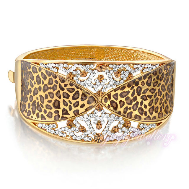 Mytys Fashion Woemn Wide Bangle  Gold Zircon Plated  leopard print Bangle B19