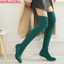 53eb21fdd00c22 MORAZORA 2018 new Crystal heels stretch boots sexy party date over the knee  boots autumn ladies fashion thigh high boots women