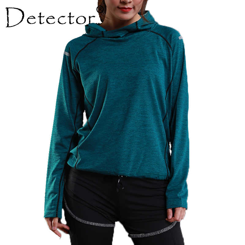 Detector Women's Running Shirts Long Sleeve Running Jacket Fitness Workout Quick Dry Breathable Hoodies Tops Tights Sportswear