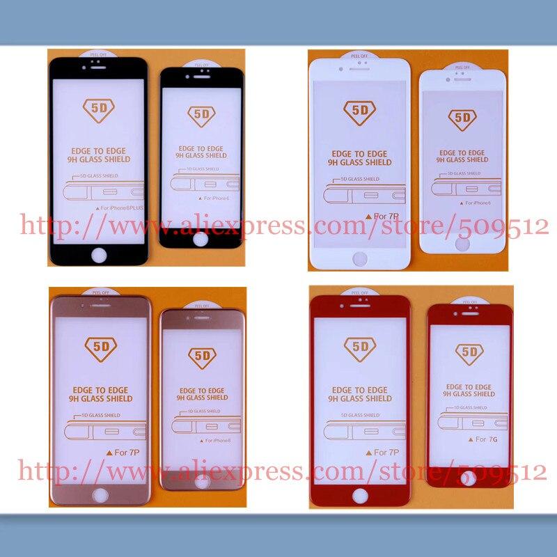 imágenes para 20 unids Noticias 9 H 5D Películas De Vidrio de La Cubierta Completa para el iphone 6 7 6 s más Completa Película de vidrio curvo Templado Protector de Pantalla de Cristal borde