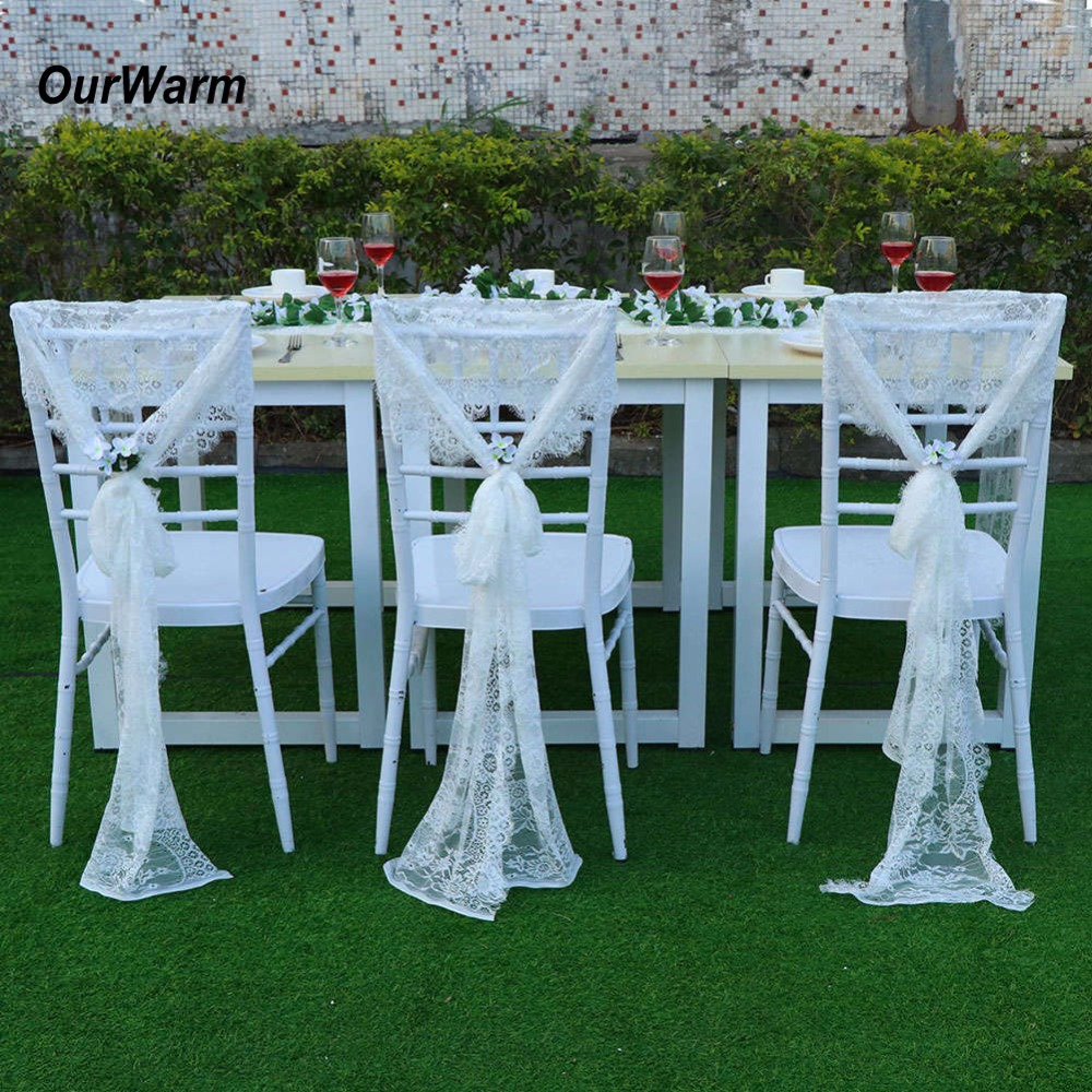 OurWarm 35x300CM Wedding Chair Sashes Floral White Lace Chair Bow Baby Shower Birthday Wedding Party Decoration Home Textile