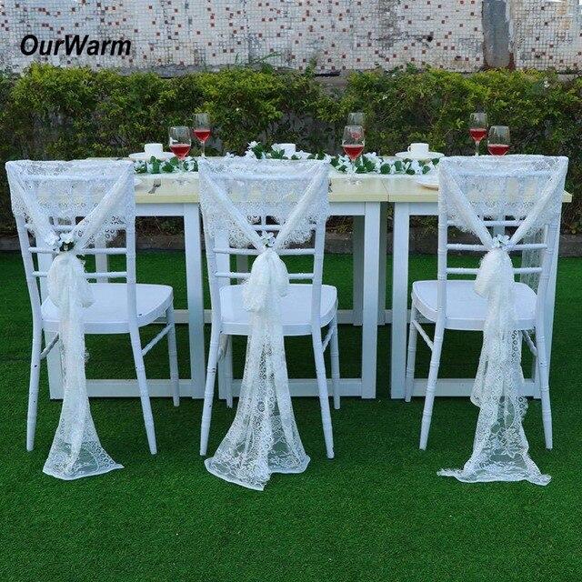 Ourwarm 35x300cm Wedding Chair Sashes Floral White Lace Chair Bow