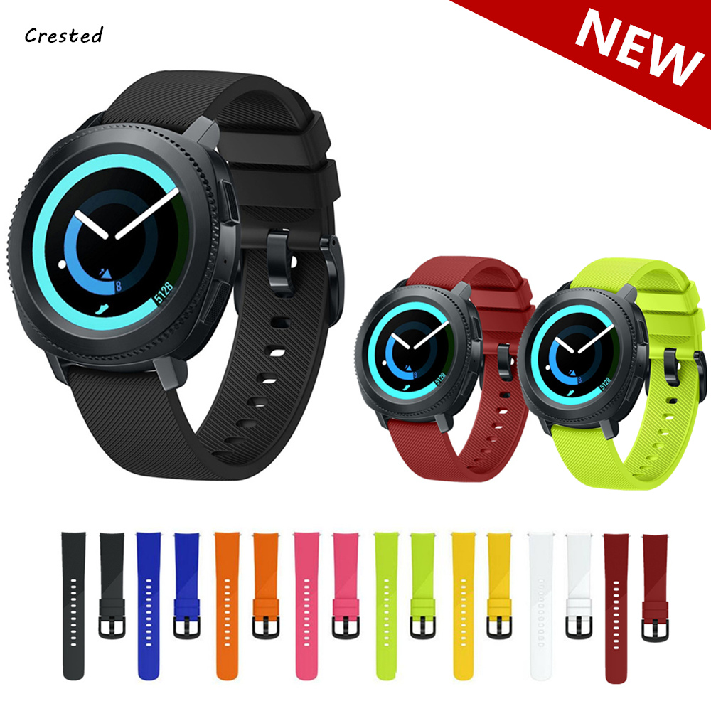 CRESTED 20mm width bracelet for Samsung gear S2 classic strap silicone band for moto 360 2rd/amazfit bip/rubber watchband jansin 22mm watchband for garmin fenix 5 easy fit silicone replacement band sports silicone wristband for forerunner 935 gps