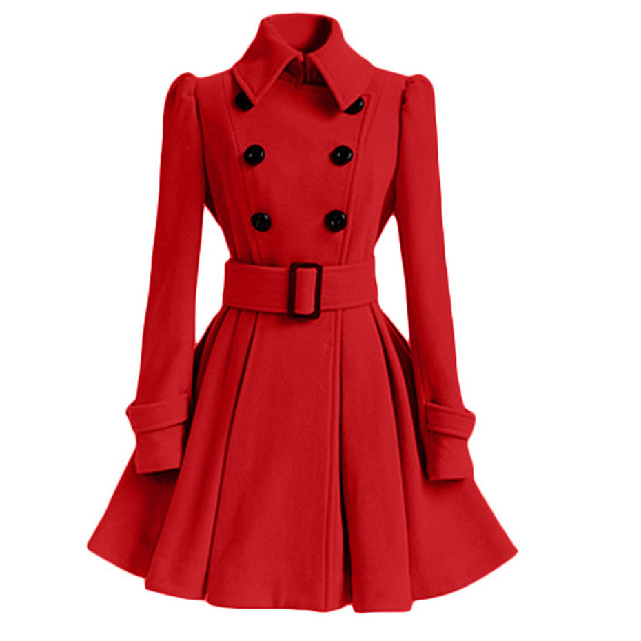 Rosetic Wool Blends Coats Women Autumn/Spring Fashion Belt Buttons Long Sleeve Lapel Collar A-Line Outerwear Christmas Red Coat
