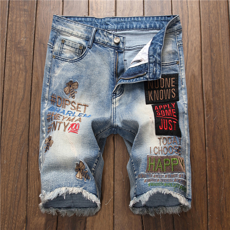 Jeans Shorts Motorcycle Streetwear Elastic Summer Denim New Male Embroidery Letters Bee