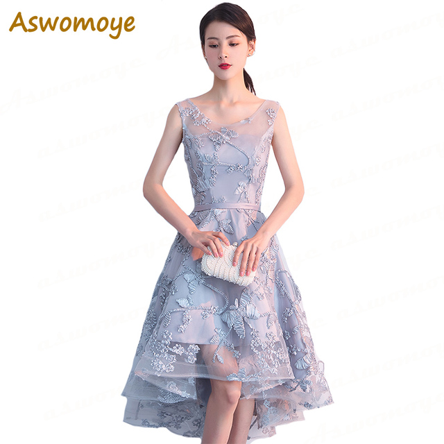 Aswomoye Elegant Women Evening Dress 2018 Stylish Appliques Asymmetrical Evening  Gown Party Dress Illusion O-neck robe de soiree 77ab383ebabe