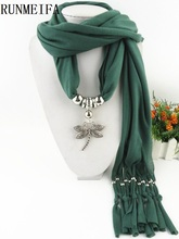 [RUNMEIFA] New Fashion Deisgn Cheap Solid Zinc Alloy Dragonfly Pendant Long Polyester Tassel Scarves for Women