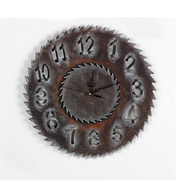 New Design  Wall Clocks Vintage European Style Gear Style Wood Wall Clock   Wall Hanging Decoration Ornament  Great Gift
