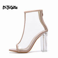 Women PVC Clear Heel Transparent Boots Peep Toe Ankle Boots Bootie High Top Perspex Lucite Summer