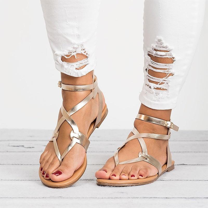 Women Sandals Plus 35-43 Shoes Summer 2018 Gladiator Flat Heels 6 Colors Beach Female Soft Sandalias Mujer