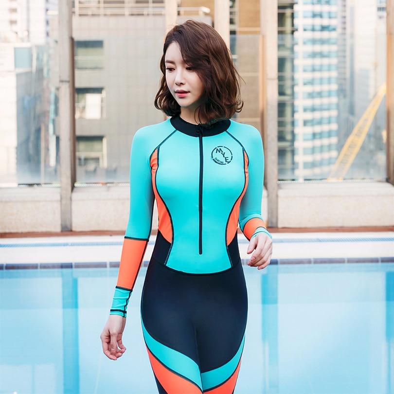 60b556ed1cb09 2018 new rash guards one piece solid patchwork woman wetsuit surfing set  zipper slim plus size