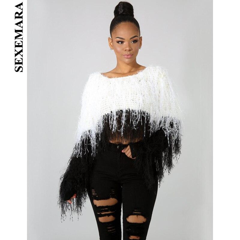 BOOFEENAA Autumn Winter Clothes Women Crop Sweater Oversized Tassel Knit Pullover Top Sweaters Fashion 2019 Christmas C48-AI55