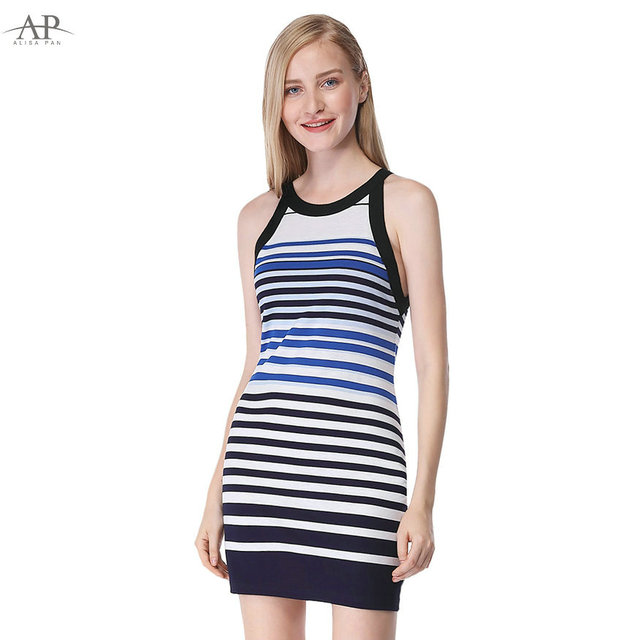 83c65f392e0098 2018 Modern Women Striped Sexy Casual Summer Dress Alisa Pan AS05675SB  Sheath Sleeveless Short O-Neck Blue Bodycon Dresses