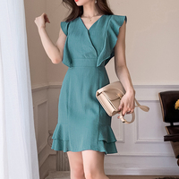 2019 New Summer Fashion Women dress Ruffles Professional Package Hip Commutermal Occasions Dresses Peacock Blue 891