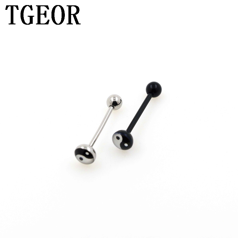 6 BLACK WHITE OR MIXED ACRYLIC STAINLESS 14g 5//8 TONGUE NIPPLE BARBELL RING