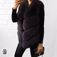 FURSARCAR 2018 Fashion Real Fur Vest Women Natural Genuine Fox Fur Female Waistcoat Short Style Winter Thick Lady Fox Fur Gilet