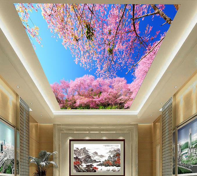 3d Wallpaper Mural Sky Clouds Leaves Blossoms Tree Scenery