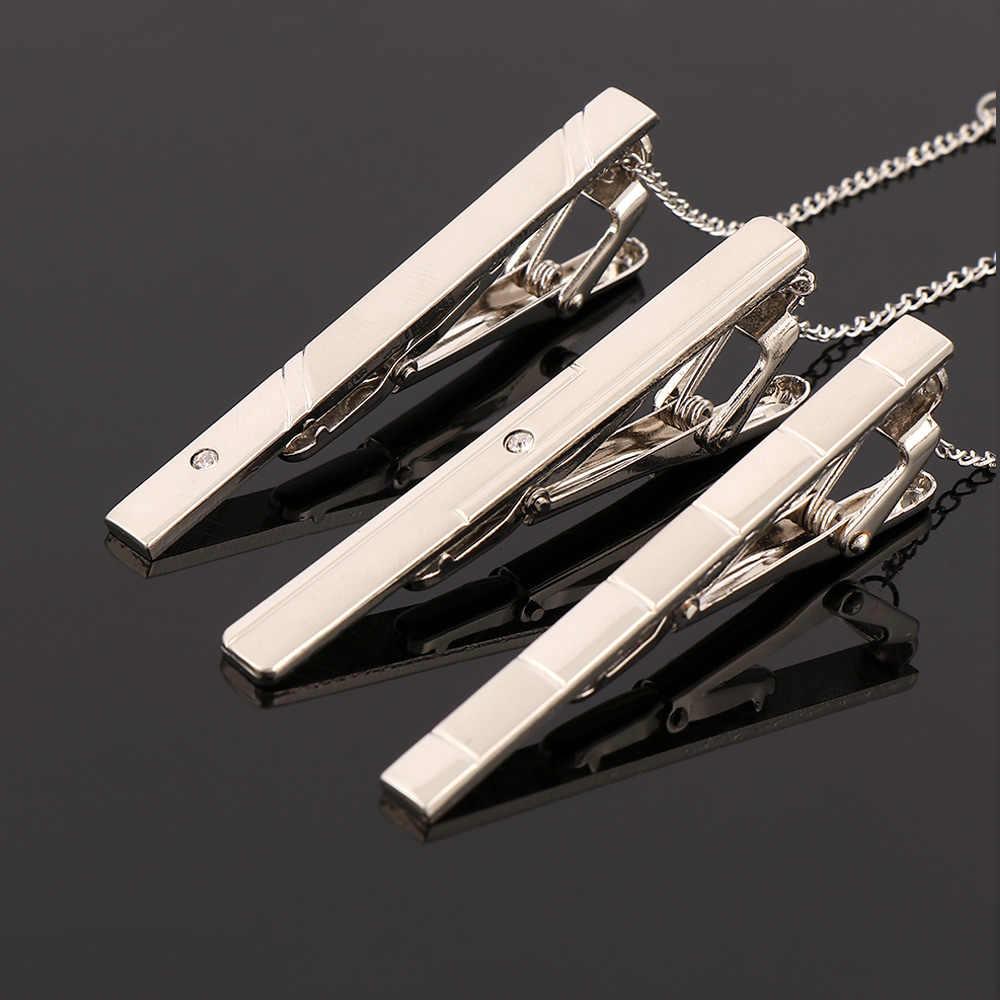 1 قطعة الرجال دبوس معدني لرباط العنق شهم فضي اللون بسيط معدن اللون ربطة العنق المشبك كليب شهم الأعمال التعادل كليب للرجال هدية