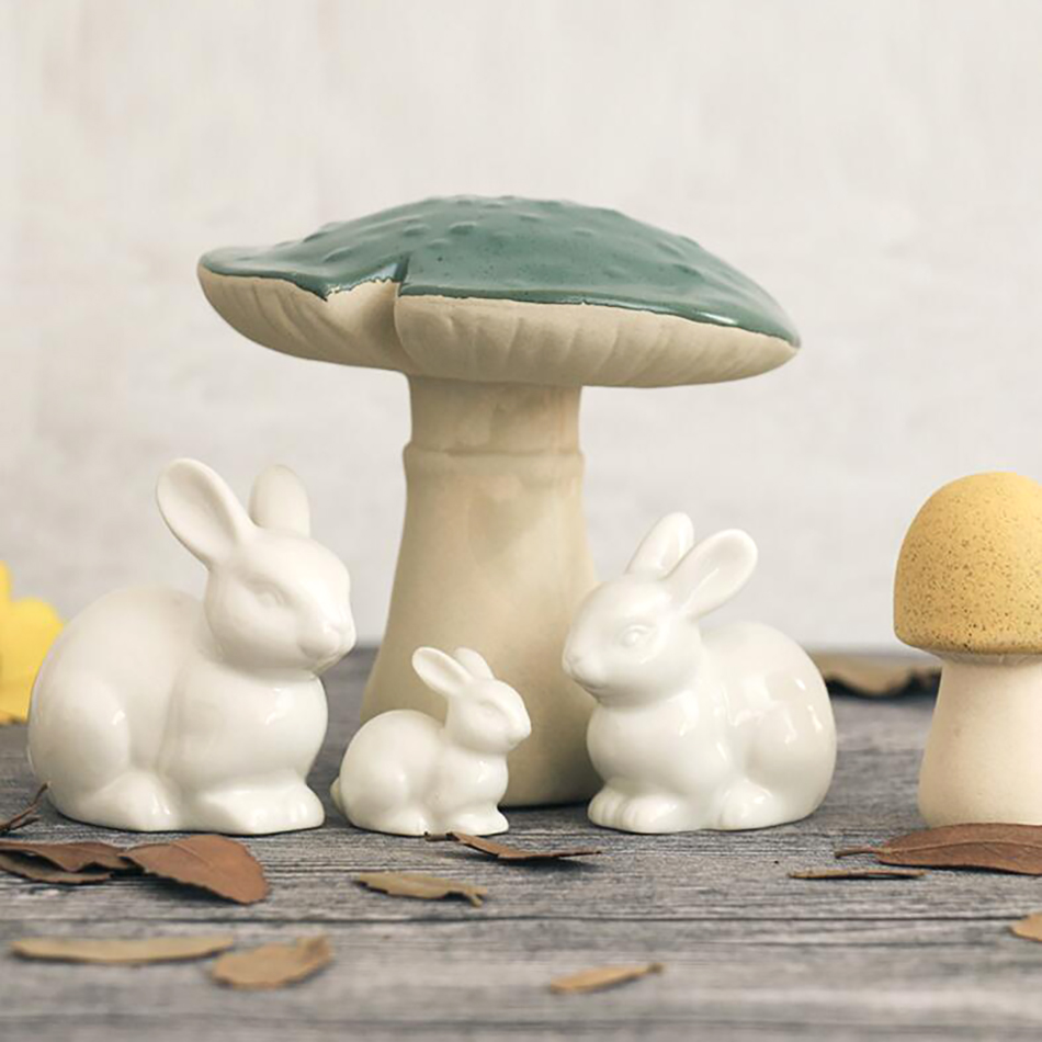 3pcs/set Lovely Mini white ceramic rabbit family decoration Home Furnishing Micro Landscape Accessory Handcrafts Creative gift(China)