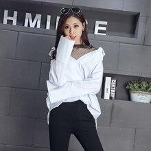 New Preppy Style Cute Women Shirts Patchwork Mesh Striped V-Neck 2017 Han Fan Two Piece Blouse Shirt White Black 8808