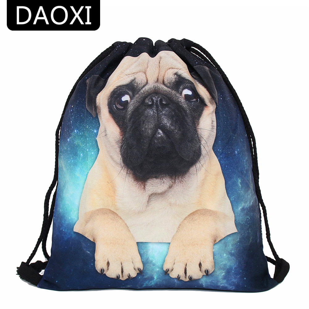 DAOXI Drawstring Bags 3D Printing Pug With Space Polyester Cute Girls School Bags DXSKD-42