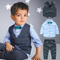 2-7Years/3PCS Kids Boys Clothes Spring Autumn Children Clothing Baby Outfits Gentleman Vest Shirt Pant Child Boys Costume A087