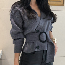 Sexy V-neck Full Sleeve Short Knitted Open Stitch Double Breasted Women Sweater Cardigans Elegant Female Sashes Jumpers 2018(China)