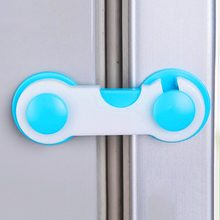 Home Door Drawer Baby Safety Lock Mini ABS Plastic Children Kids Protect Safety Care Wardrobe Cabinet Locker Supplies Blue color(China)