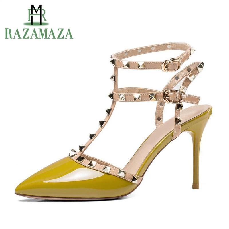 8d465304980 39 jaune Cuir En De Mariage Sexy Chaussures Pointu Ivoire Taille Talons 34  Rivets Véritable Mince ...