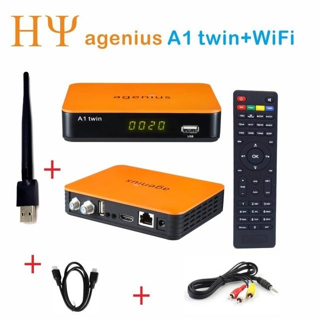 Genuina agenius A1 Twin Tuner IKS SKS ACM H.265 DVB-S2 Satellite Receiver ACM NEWCAM CCCAM Vod H.265 USB wifi Youtube 3G