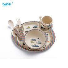 cute bamboo fiber baby boy girl dinnerware set for training baby dinner feeding tableware 5 pcs one set with cartoon painting