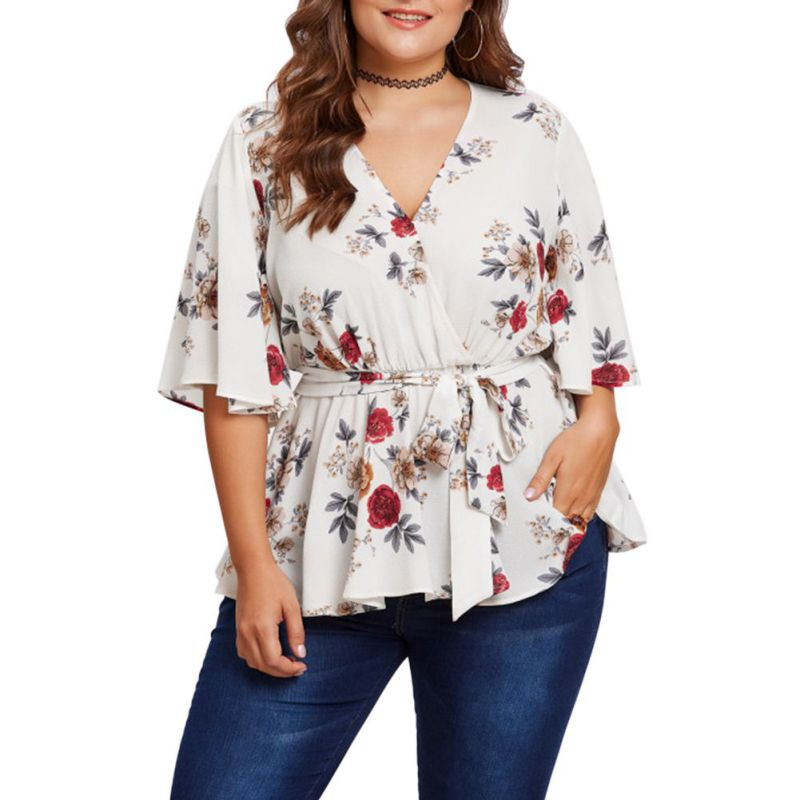 SILVERCELL Women Blouse Plus Size 5XL Sexy V Neck Floral Print Flare Sleeve Belted Surplice Peplum Tops Blouse