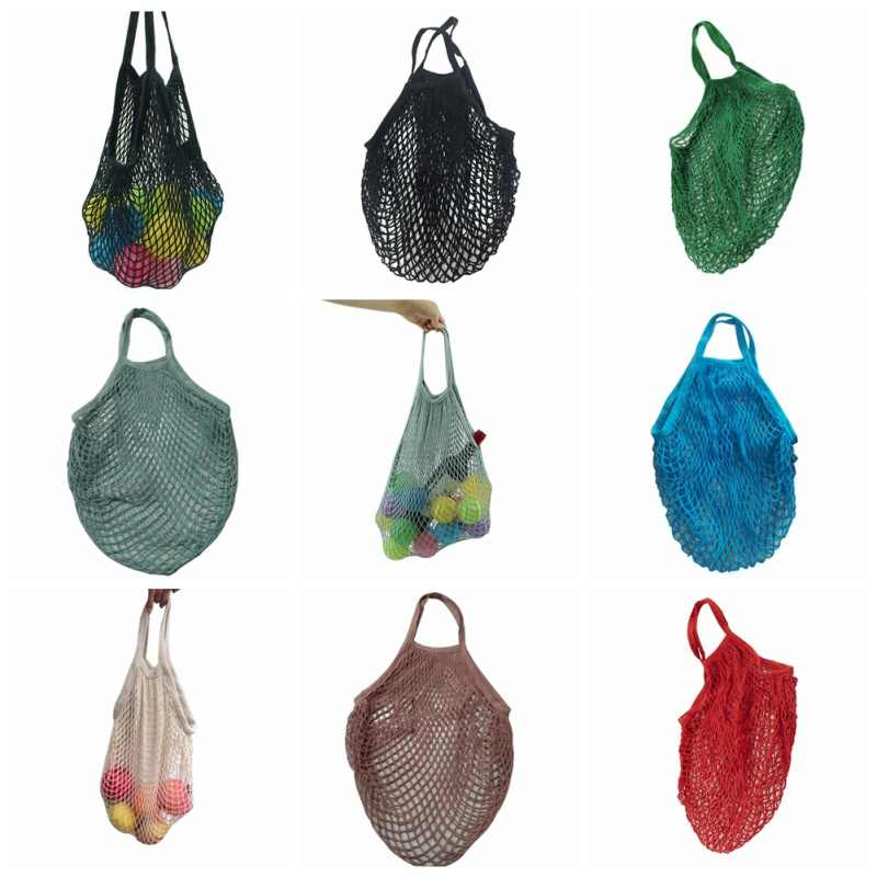 2018 New Environmental Protection Bag Reusable Fruit Storage Bag String Grocery Shopper Cotton Tote Woven Net Bag Hand Totes