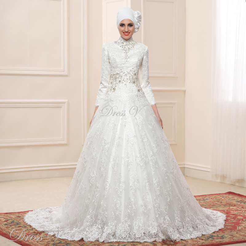 Lace ball gown long sleeve muslim wedding dresses hijab for One arm wedding dresses