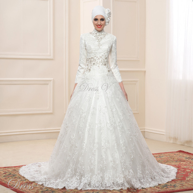 Lace Ball Gown Long Sleeve Muslim Wedding Dresses Hijab Long Vintage ...