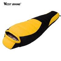 WEST BIKING Ultralight Mummy Sleeping Bag Winter Autumn Lengthened Thicken Camping Splicing White Duck Down Single