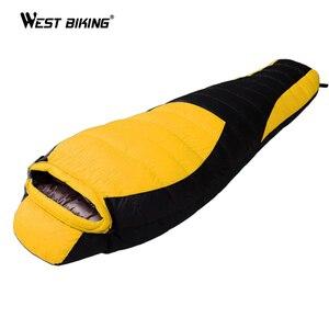 Image 1 - WEST BIKING Ultralight Mummy Sleeping Bag Winter Autumn Lengthened Thicken Camping Splicing White Duck Down Single Sleeping Bag