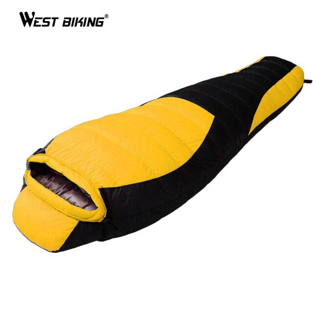 WESTขี่จักรยานUltralight Mummyถุงนอนฤดูหนาวฤดูใบไม้ร่วงยาวThicken Camping Splicingสีขาวเป็ดลงถุงนอน