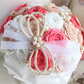 Customized Coral Ivory Bridal Wedding Bouquet With Pearl Beaded Brooch Silk Roses,Romantic Wedding Colorful Bride 's Bouquet