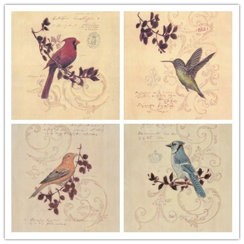 free shipping birds canvas prints oil painting on canvas pastoral ...